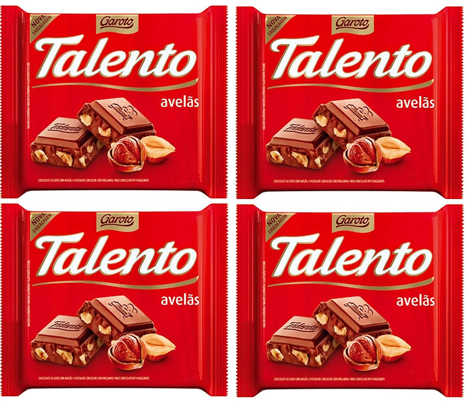 Amazon.com : GAROTO Talento Chocolate 90 gr. each - PACK of 4. (Chocolate Ao Leite com Avelas, 4 Pack) : Grocery & Gourmet Food