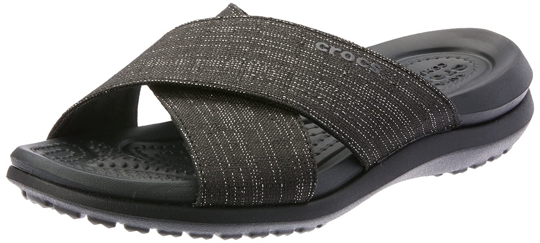 Crocs Women's Capri Shimmer Cross-Band Sandal B071WCWXBH 5 M US|Black/Black