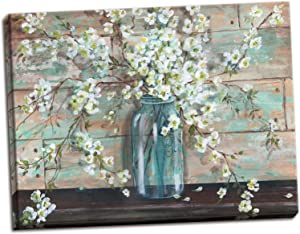 Gango Home Decor Beautiful Watercolor-Style Blossoms In A Mason Jar Floral Print by Tre Sorelle Studios; One 20x16in Stretched Canvas