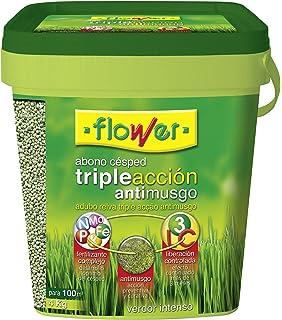 Flower 10733 10733-Abono césped Triple acción Anti Musgo, 4 kg, No Aplica