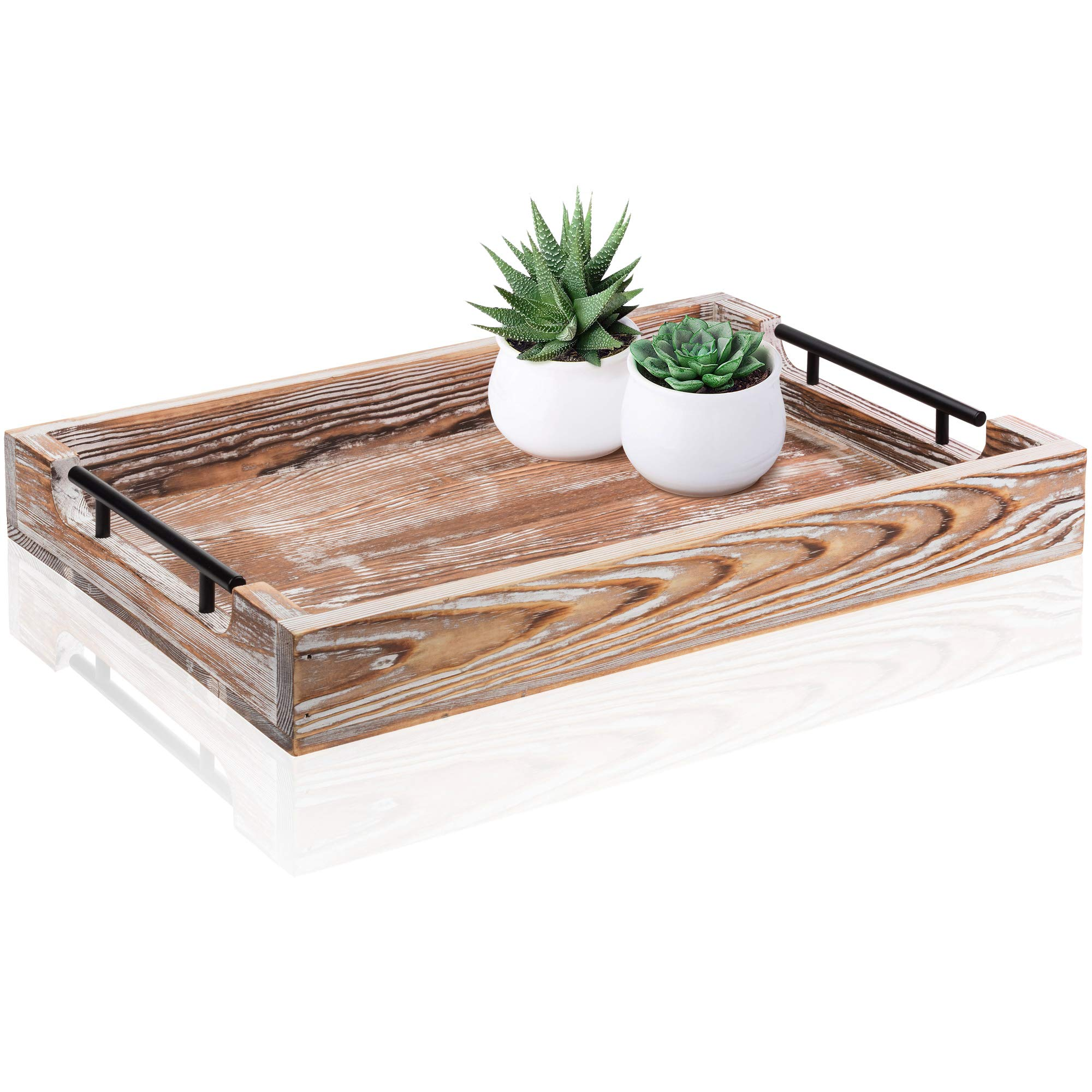 Large Ottoman Tray with Handles - 20''x14'' - Coffee Table Tray - Rustic Tray for Ottoman - Wooden Trays for Coffee Table - Wooden Serving Trays for Ottomans - Ottoman Trays Home Decor - Farmhouse Tray