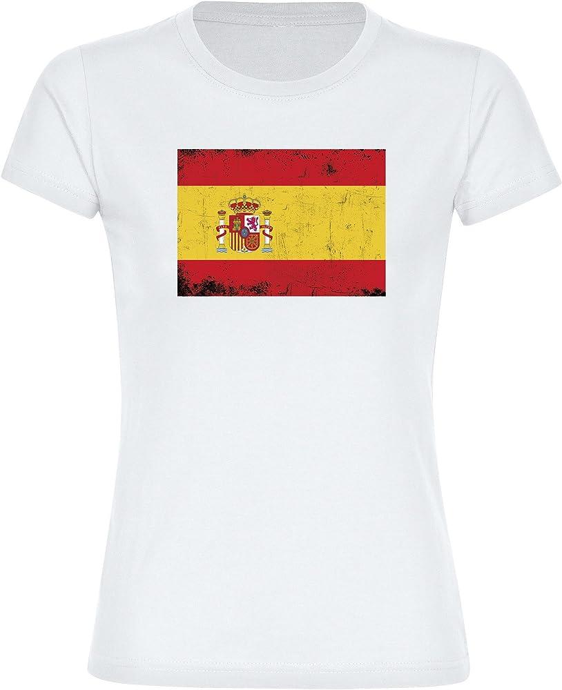 T-Shirt cuello redondo camiseta de manga corta para mujer blanco de España Bandera retro tallas de la S a 2XL Blanco blanco Talla:small: Amazon.es: Deportes y aire libre