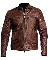 CHICAGO-FASHIONS Vintage Cafe Racer Distressed Brown Biker Leather Jacket