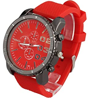 ShoppeWatch Mens Large Face Wrist Watch Unisex Silicone Band Reloj para Hombre Red Dial SW1091RD