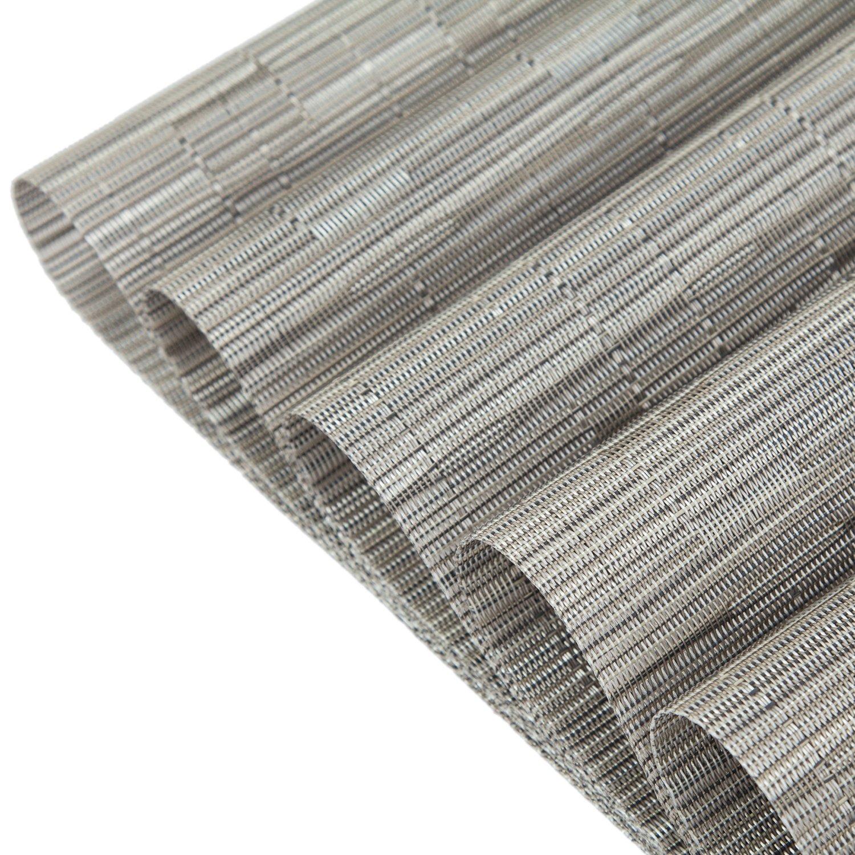 Pauwer PVC Placemats Set of 6 Washable Woven Vinyl Placemat for Kitchen Table Heat Resistant Non-Slip Kitchen Table Place Mats Wipe Clean (6pcs Placemats, Silver Grey) by Pauwer (Image #6)