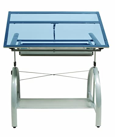 Studio Design Drafting Table studio designs avanta drafting table in silver with blue glass 10060 Studio Designs Avanta Drafting Table In Silver With Blue Glass 10060