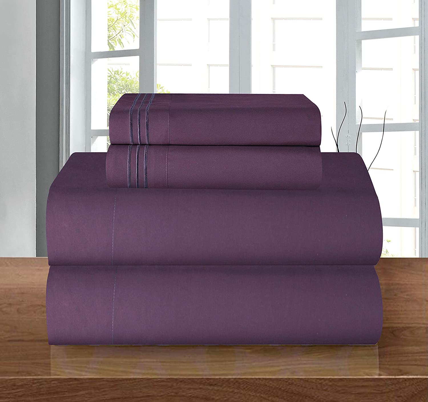 Luxurious Soft 1500 Thread Count Egyptian Purple Bed Sheet