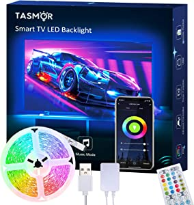 TV LED Backlight, TASMOR 9.84ft Smart Led Strip Lights Works with Alexa Google Home WiFi APP Control Color Changing RGB Light Strip USB Powered with 40-Keys IR Remote Controller for 32-60in TV PC