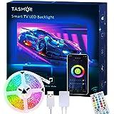 TV LED Backlight, TASMOR 9.84ft USB Led Strip Lights APP Control Music Sync for 32-60in TV Works with Alexa Google Home…