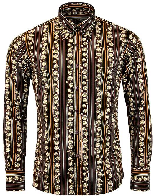 1960s Style Men's Clothing, 70s Men's Fashion Madcap England Trip 70s Stripe Mens Retro Shirt: Brown MC326 £34.99 AT vintagedancer.com