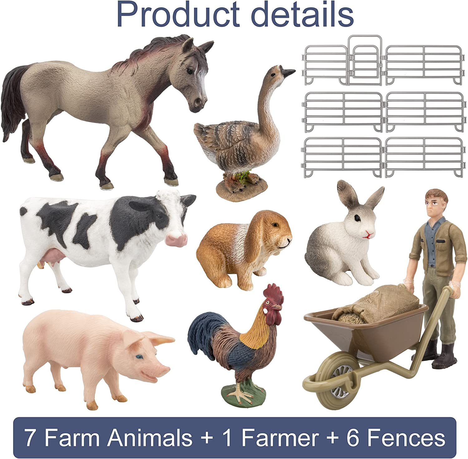 DOYIFun Realistic Farm Pig Model Figures Toy Set Set of 5 Miniature Pig Family Figurines Collection Playset Farm Meadows Pasture Horse Statues Preschool Educational Learn Cognitive Toys
