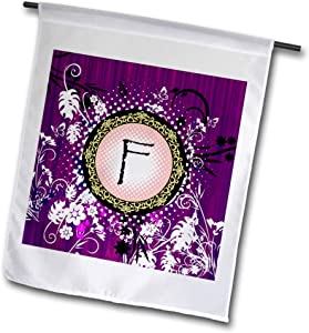 3dRose Russ Billington Monograms- Purple Woodland - Monogram Initial F- Purple, White and Yellow Woodland Theme - 12 x 18 inch Garden Flag (fl_311133_1)