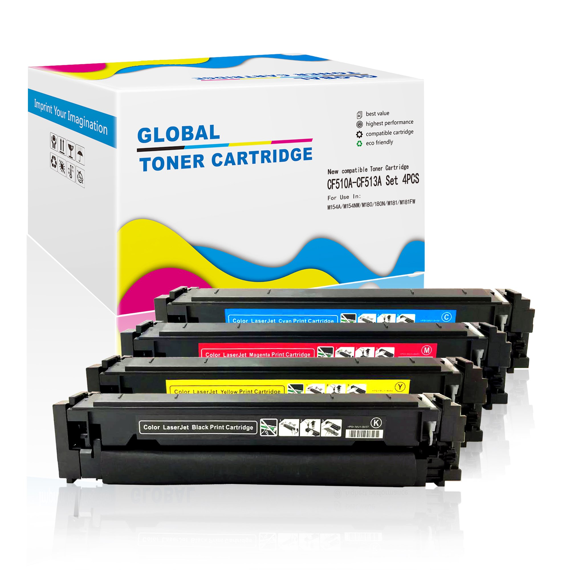 4 Pack New Compatible for HP 204A (CF510A/CF511A/CF512A/CF513A) Color Toner Cartridge with Chip ready for use in LaserJet M154A, M154NW, M180, 180N, M181,M181FW series