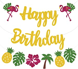 GZDUCK Flamingo Happy Birthday Banner Hawaiian Theme Party Supplies Pineapple Palm Leaf Tropical Banner Decorations Glitter Decor