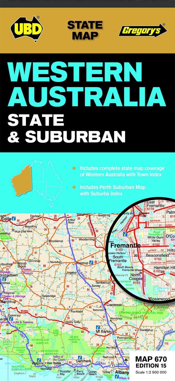 Australia Map In R.Western Australia State Suburban 670 R V R State Map Amazon Co Uk
