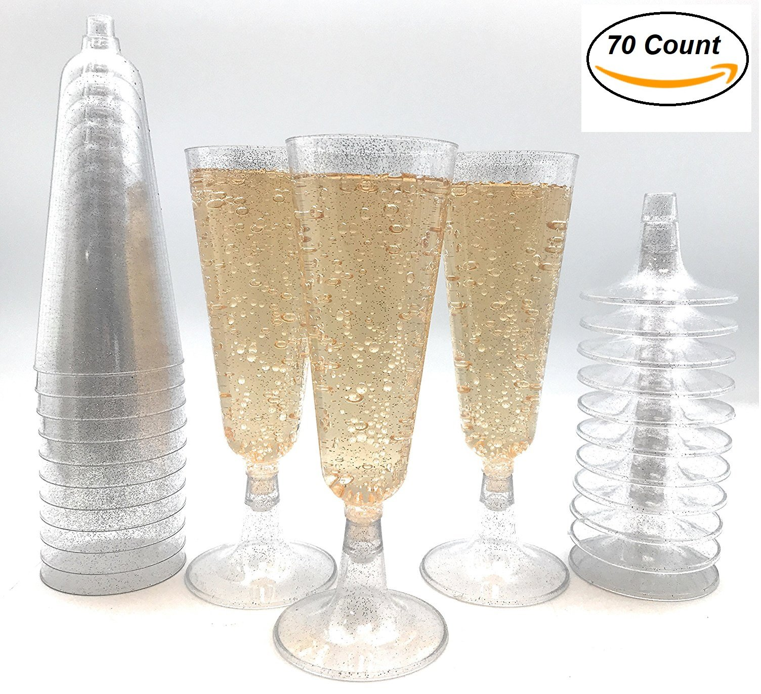 70pc Silver Glitter Plastic Classicware Glass Like Champagne Wedding Parties Toasting Flutes Party Cocktail Cups