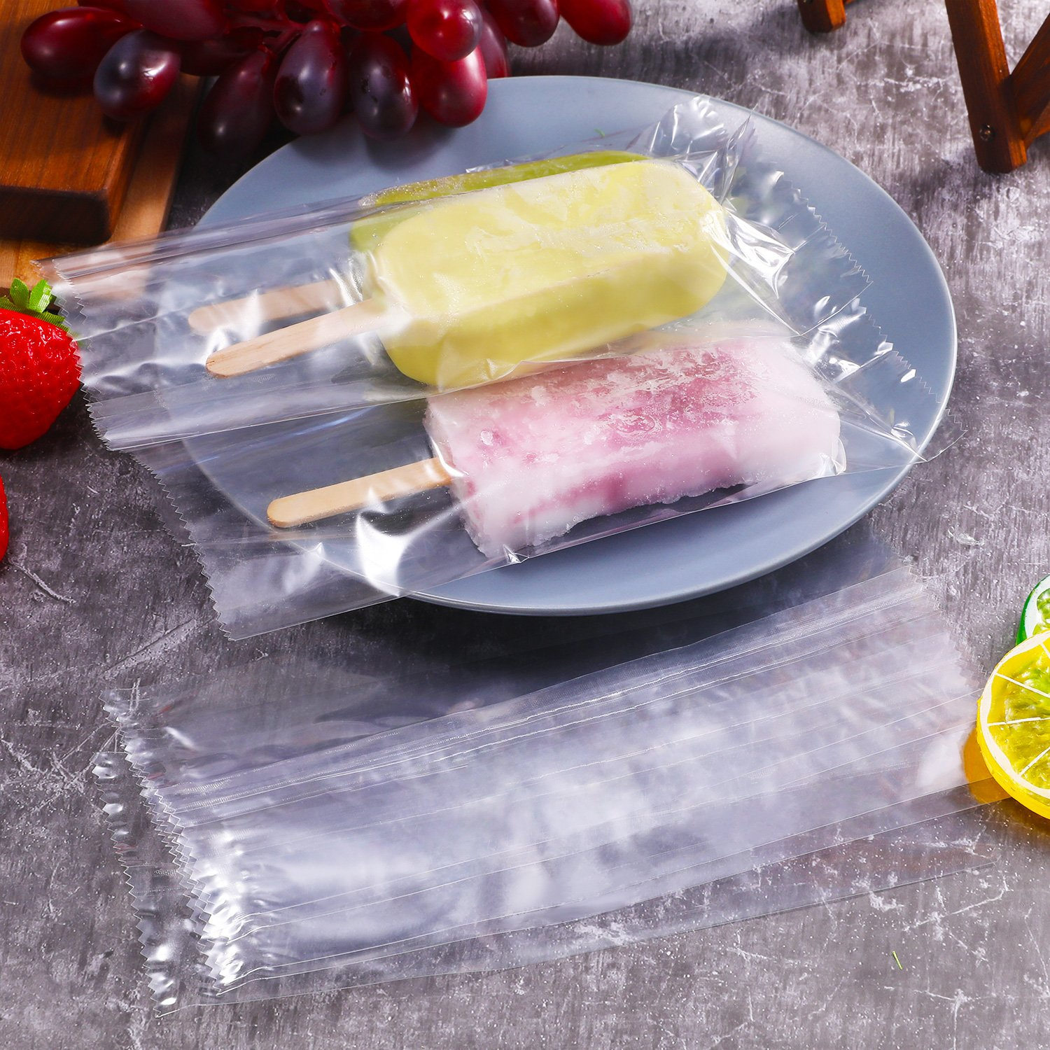 Gejoy 300 Pack Disposable Popsicle Bags Ice Pop Bags Plastic Candy Bags Hot Sealing Packing Containers for Ice Pop Making Wedding Favor Gifts