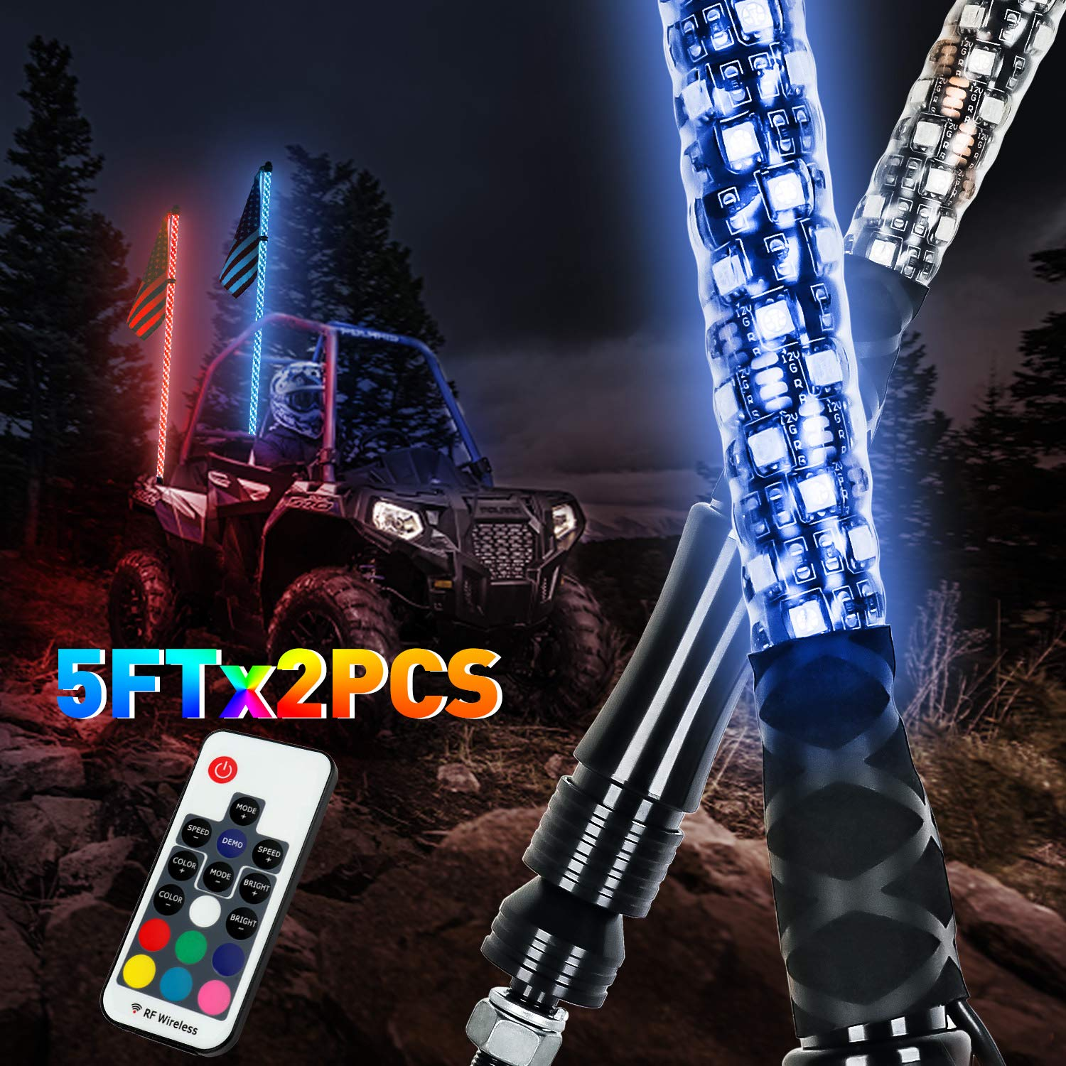 LED Whip Lights, AAIWA 2PCS 5FT Wireless Remote LED Antenna Light for UTV Polaris RZR 4 Wheeler Off Road ATV Jeep Truck Dunes by AAIWA