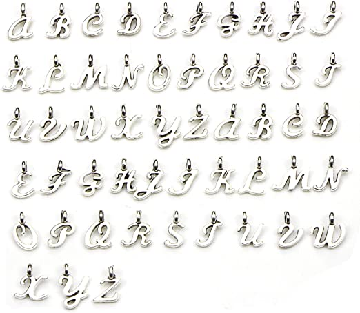 10932 WOCRAFT 130Pcs ABC Letter Alphabet A-Z Letter Charms for Personalization Jewelry Making Alphabetic Loose Beads Set DIY Crafts Charms for DIY Necklace Bracelet Set of 5