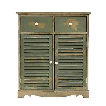 mobili rebecca meuble dappoint armoire commode 2 portes 2 tiroirs mediterranea bois clair vert