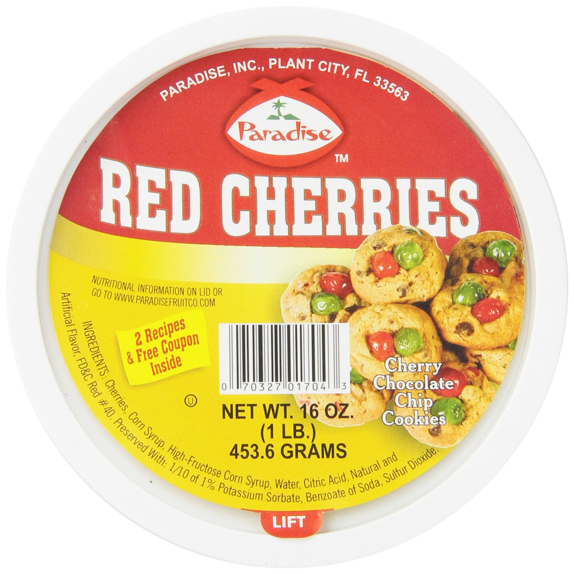 Paradise Cherries Whole, Red, 16 Ounce