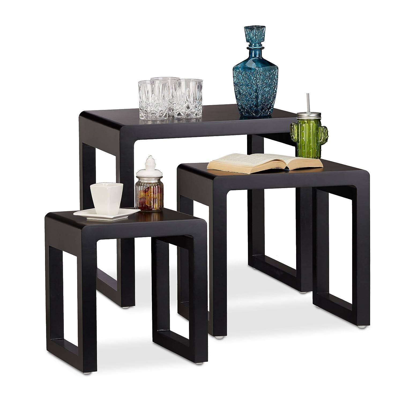 Relaxdays Set 3 Tavolini da Salotto Sovrapponibili, Stile Elegante, Legno Laccato, Bianco, Varie Misure, 10021915_49
