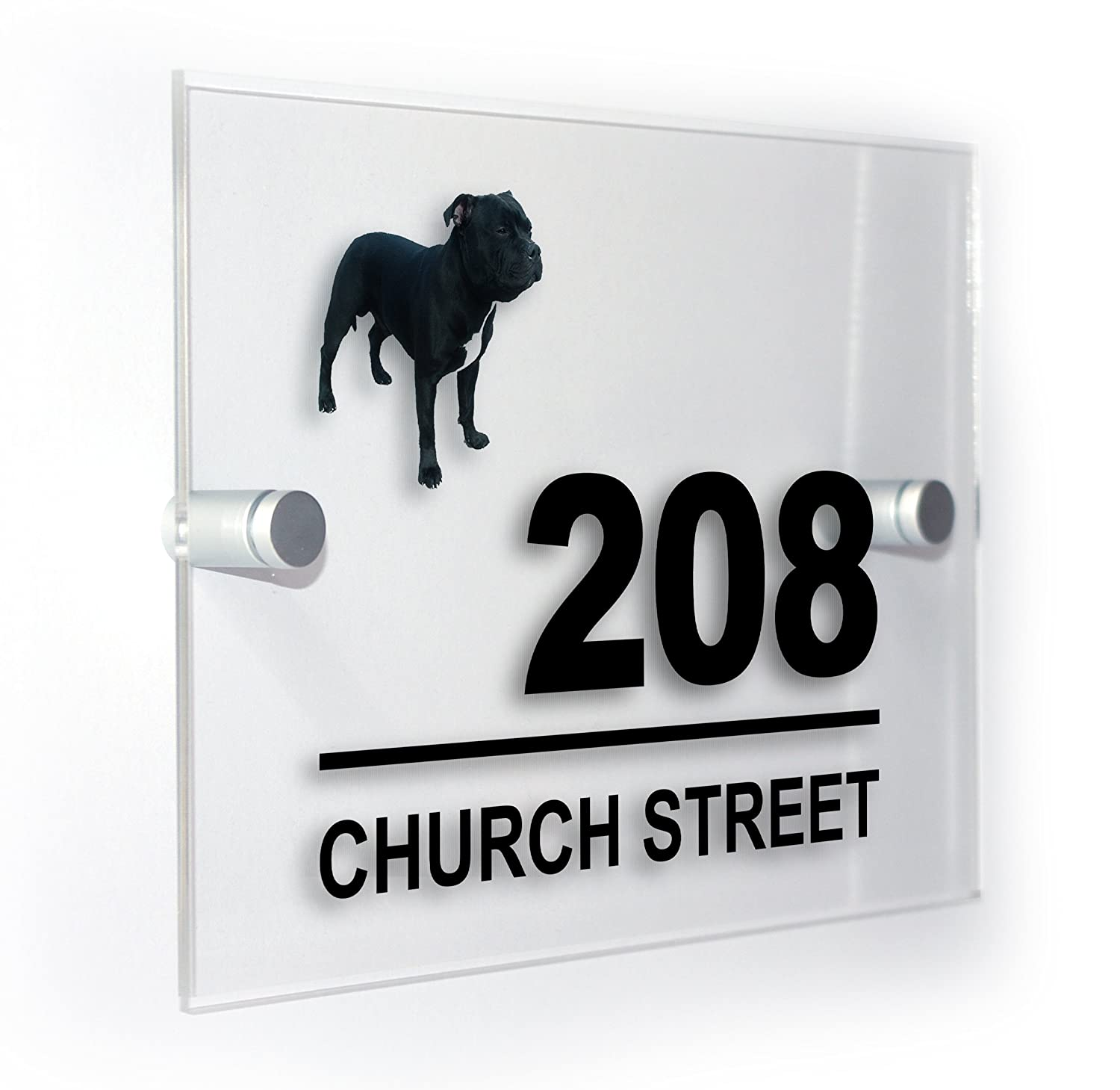 Staffy Staffie Bull Terrier Dog Modern Style Personalised House Flat Number Plaque Full Colour Sign Outdoor Use Weatherproof Market Leading Print Premium Home Plaques