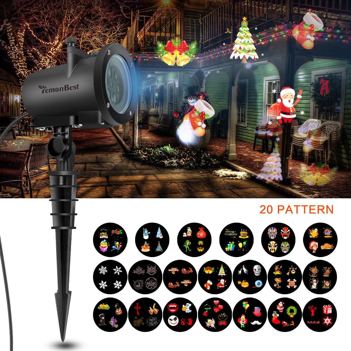 12W Led Holiday Projector Lights, AOZBZ 2018 Newest Version 20 Pattern Lens Switchable, Waterproof Landscape Garden LED Colorful Moving Snowflake with 32ft Power Cable for Halloween, Holiday Xmas