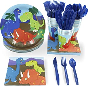 Dinosaur Party Bundle, Includes Plates, Napkins, Cups, and Cutlery (48 Guests, 288 Pieces)