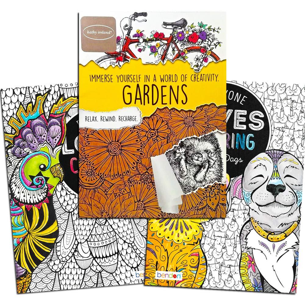 Birds//Cats/&Dogs//Flowers Bendon Advanced Coloring Book 3 Pack