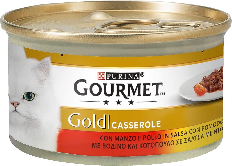 Purina Gourmet Gold Húmedo - Cacerolas con Ternera y Pollo en Salsa con Tomate, 24 latas de 85 g Cada uno, 24 x 85 g