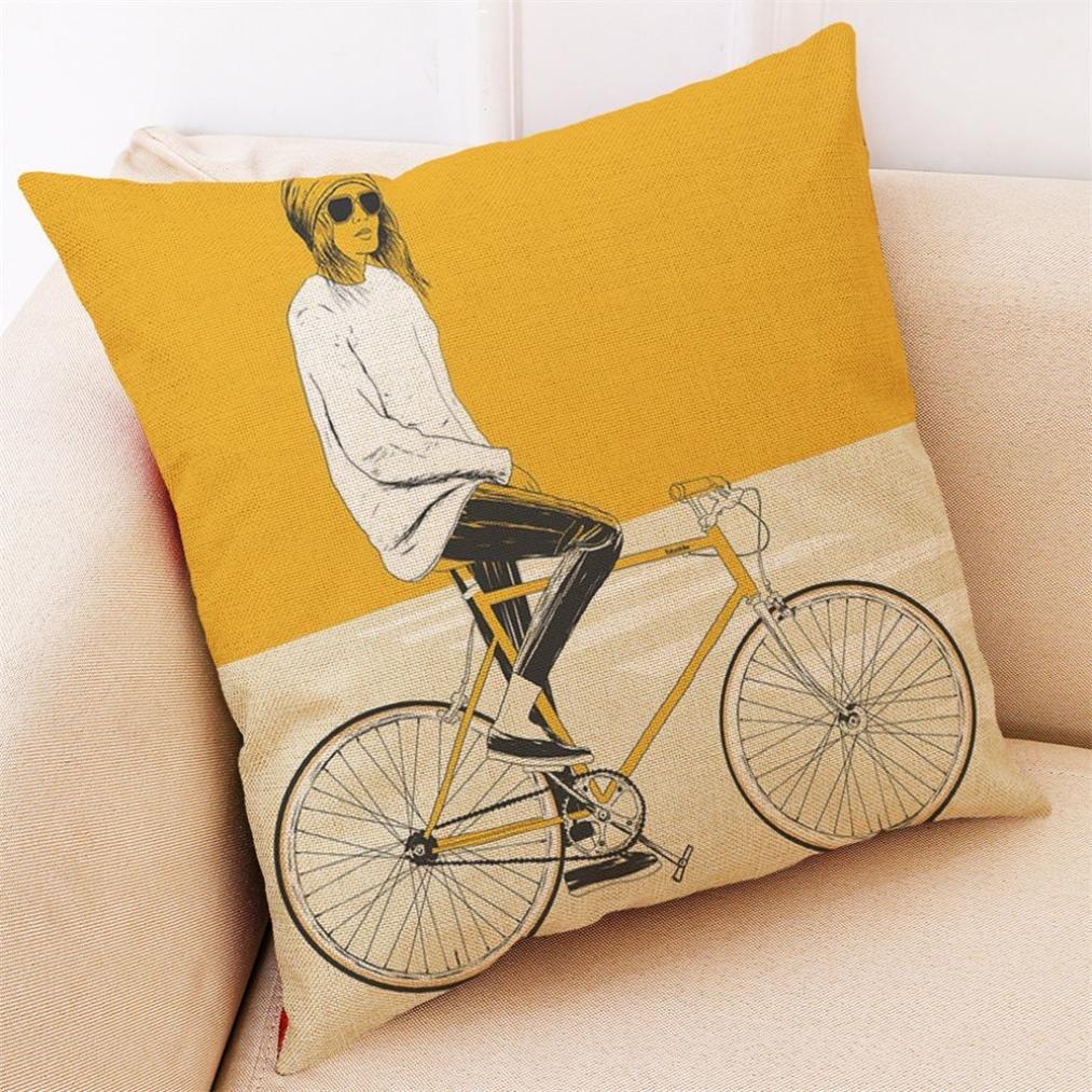 weiches Leinen Sofa Bettw/äsche Auto Dekoration Werfen Kissenbezug Home Decor F kxnet Fashion Gelb Stil Kissen Fall 45 * 45cm