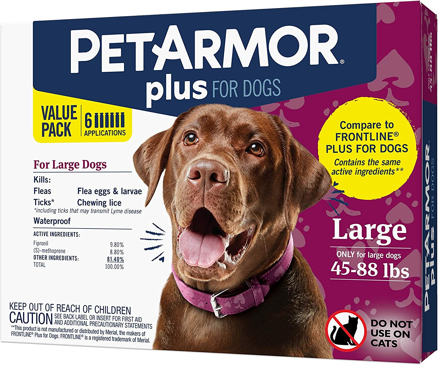 PETARMOR Plus for Dogs Flea and Tick Prevention for Dogs, Long-Lasting & Fast-Acting Topical Dog Flea Treatment, 6 Count