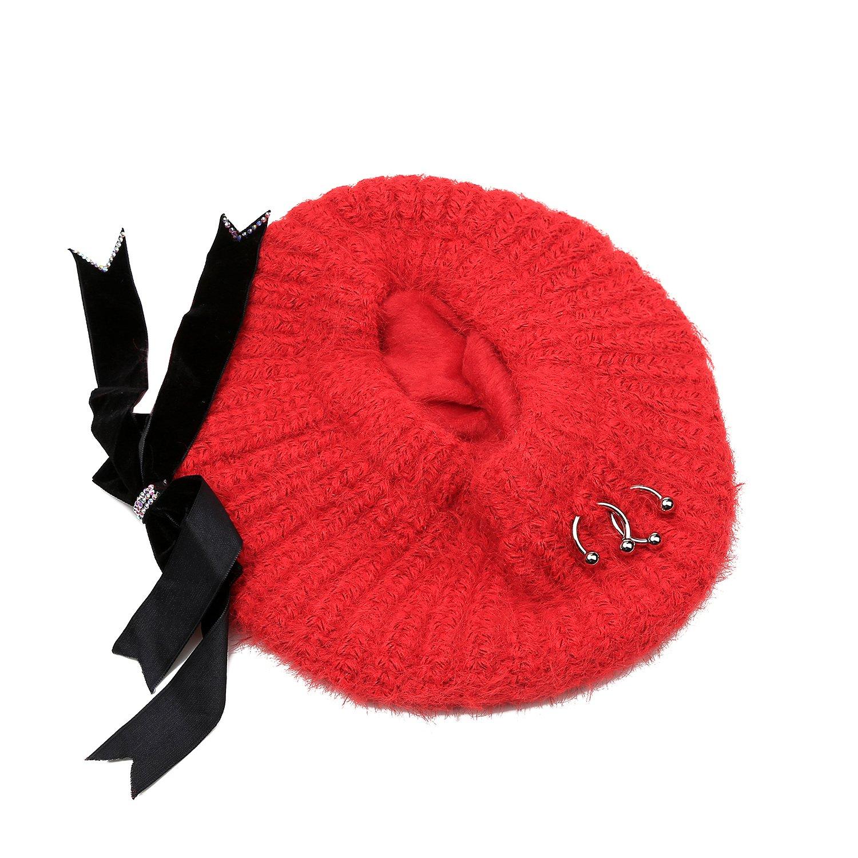 Women Winter Hat Warm Soft Beanie Protective Ear Angora Knit Cap FADA Beret Hats