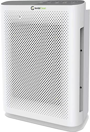 InvisiClean Aura II Air Purifier – 4-in-1 True HEPA, Ionizer, Carbon UV-C Sanitizer – Air Purifier for Allergies Pets, Home, Large Rooms, Smokers, Dust, Mold, Allergens, Odor Elimination, Germs