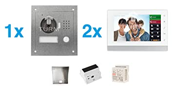 TURM IP 2 Draht Video Türsprechanlage, 1,3 Megapixel Kamera, 2x 7 ...