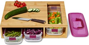 Bamboo Cutting Board with Containers-4 piece set-3 stack able containers with one purple lid-Food storage-Chopping/Dicing/Slicing-Meal Prep Station-Kitchen Essential-Space Saver