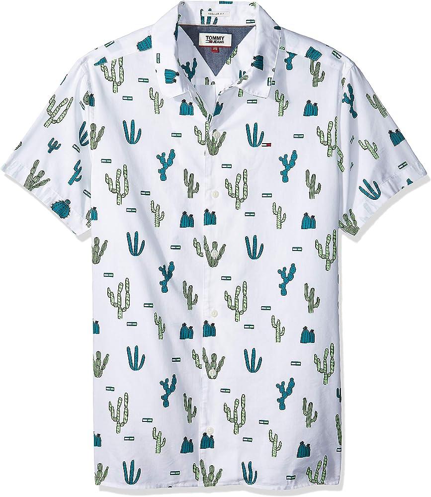 Tommy Hilfiger Summer Print Camp Camisa, Blanco (Cactus Aop ...