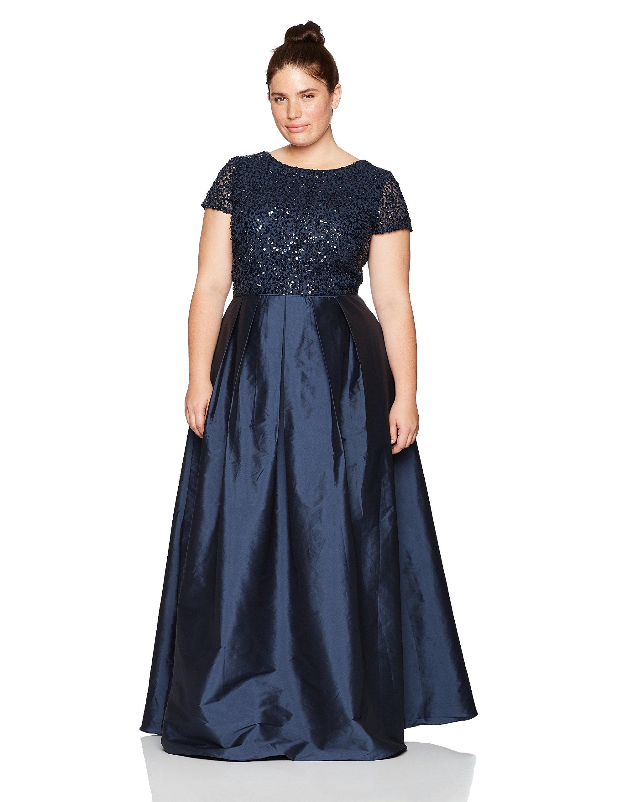 Adrianna Papell Women's Plus Size Taffeta Gown with Beaded Bodice, Navy, 16W