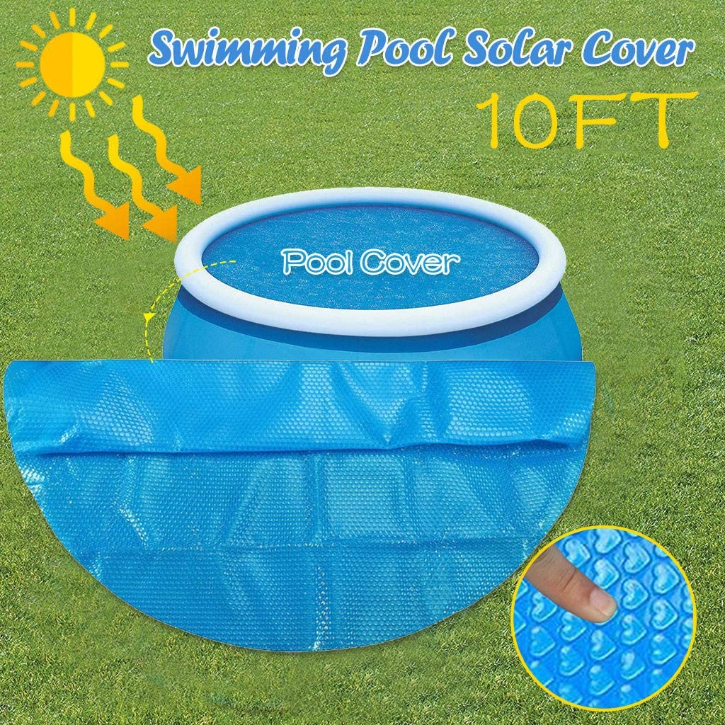 MOMFEI Blue 8ft/10ft Round Solar Cover | 1200 Series Style | Heating Blanket for In-Ground and Above-Ground Round Swimming Pools | Use Sun to Heat Pool | Face Bubble-Side Down (3.0X3.0M(10ft))