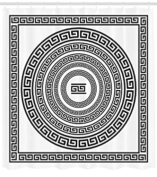 amazon ambesonne greek key shower curtain traditional meander 70 Inch Curved TV ambesonne greek key shower curtain traditional meander border set with square and circles antique ethnic