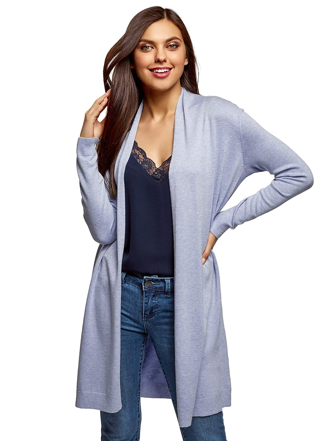 bluee (7000m) oodji Collection Women's Long No Closure Cardigan