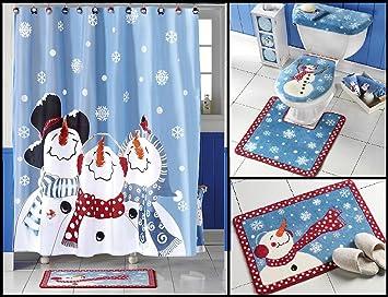 Amazon Frosty Friends Snowman Shower Curtain