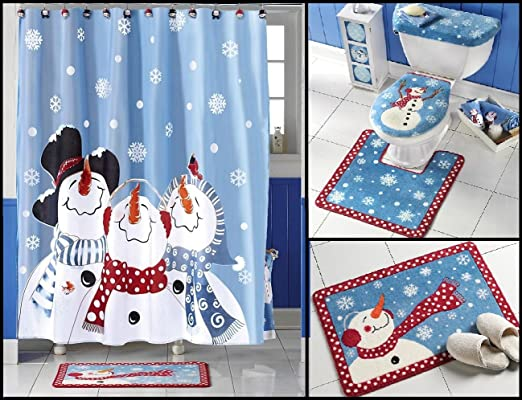 snowman bathroom sets. Amazon com  Frosty Friends Snowman Shower Curtain Bath Rug Toilet Seat Cover Set Beauty