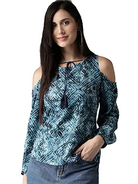 41109e47410f95 Amayra Women s Rayon Cold Shoulder Printed Top(Blue)  Amazon.in ...