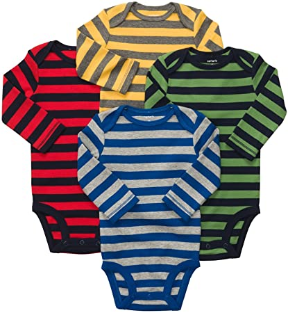 1524490bb799 Amazon.com  Carter s Baby Boys 4-pack Long-sleeve Bodysuits (NB-24M ...
