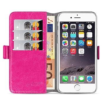 JAMMYLIZARD Funda iPhone 6 Plus 6S Plus carcasa iphone 6 Plus 6S Plus Funda estilo libro Deluxe Range tarjetas cierre magnético, Rosa fucsia
