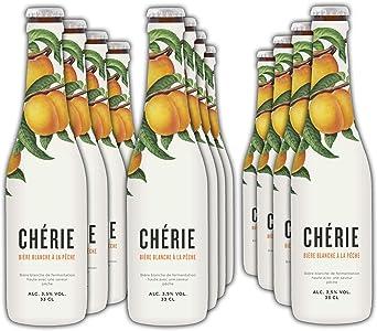 Chérie - Cerveza de Trigo con Sabor Melocoton - Pack 12 Unidades 33 cl: Amazon.es: Alimentación y bebidas