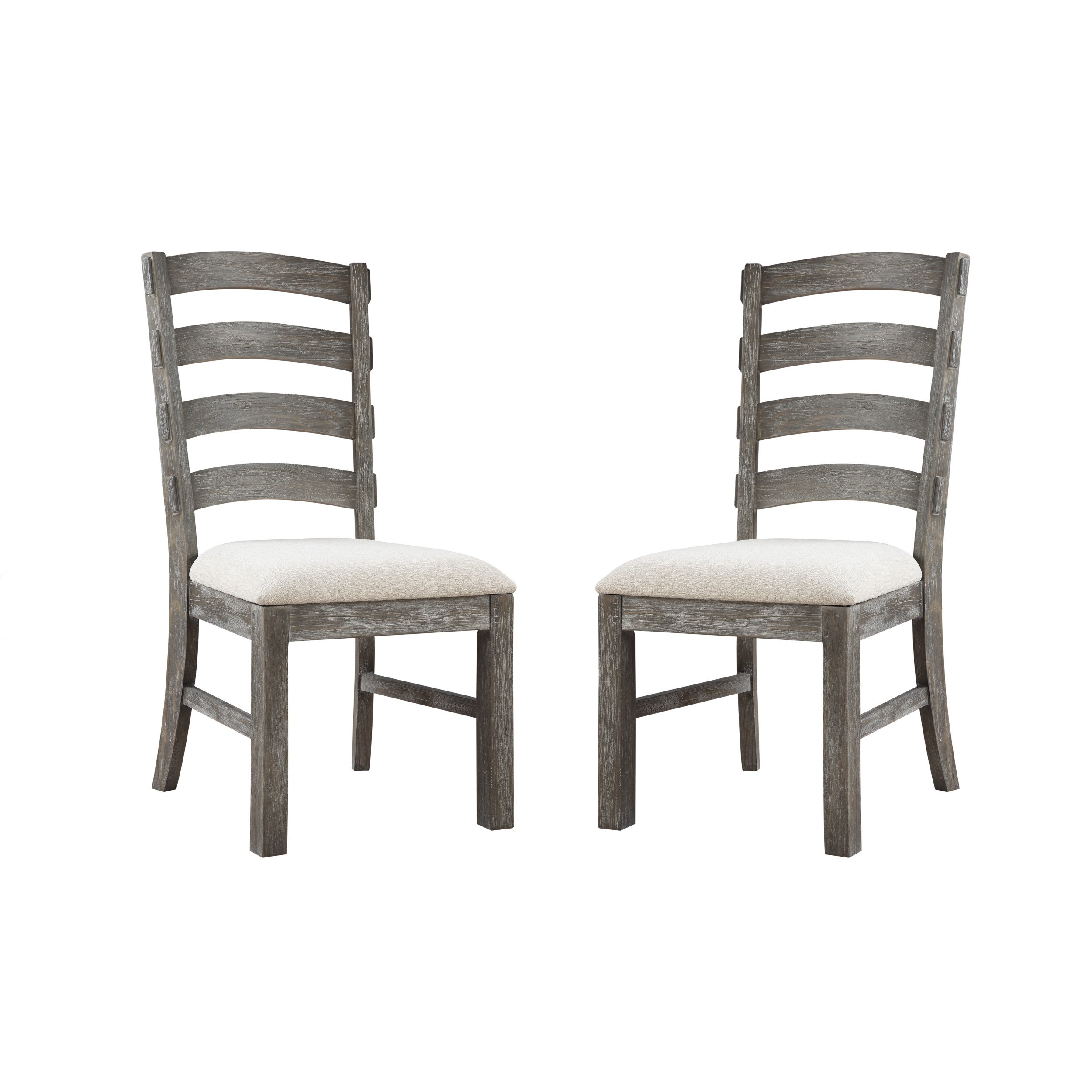 Emerald Home Paladin Rustic Charcoal Gray Dining Chair with Upholstered Seat And Ladder Back, Set of Two by Emerald Home Furnishings (Image #1)