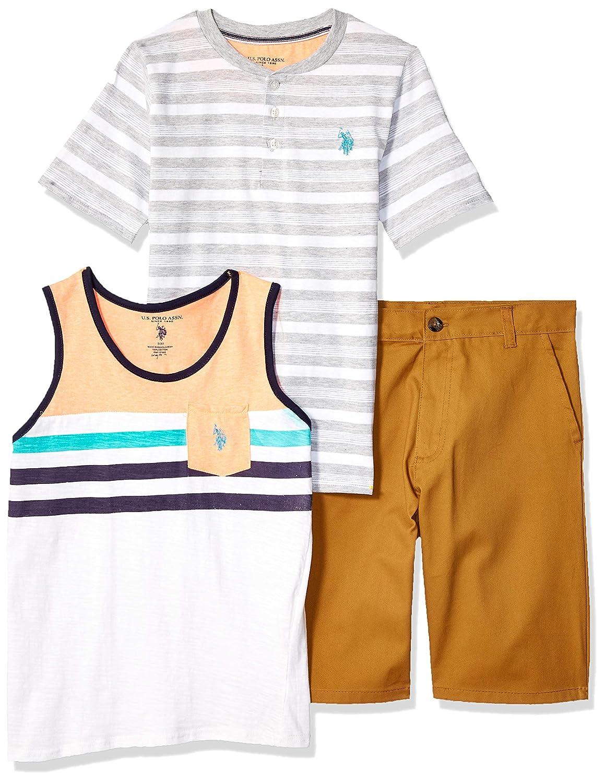 Boys 3 Piece Sleeve Henley T-Shirt Tank Top Polo Assn and Short Set U.S